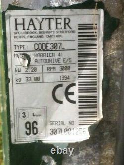 Hayter Harrier 41 Lawn Mower Model 307L. Self Propelled 16 Cut