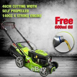 Lawnmower 46cm Petrol SELF PROPELLED ELECTRIC START 140cc Plus FREE Oil