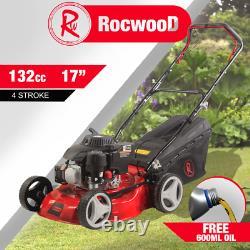 Petrol Lawnmower SELF PROPELLED RocwooD 132cc 17 Mower Mulching + FREE Oil